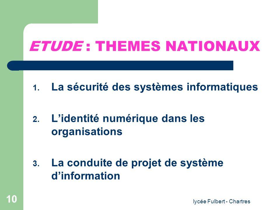 ETUDE : THEMES NATIONAUX