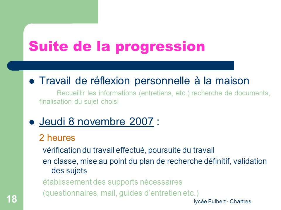 Suite de la progression