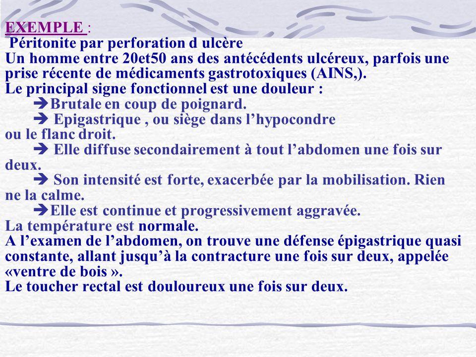 EXEMPLE : Péritonite par perforation d ulcère Un homme entre 20et50 ans des antécédents ulcéreux, parfois une prise récente de médicaments gastrotoxiques (AINS,).