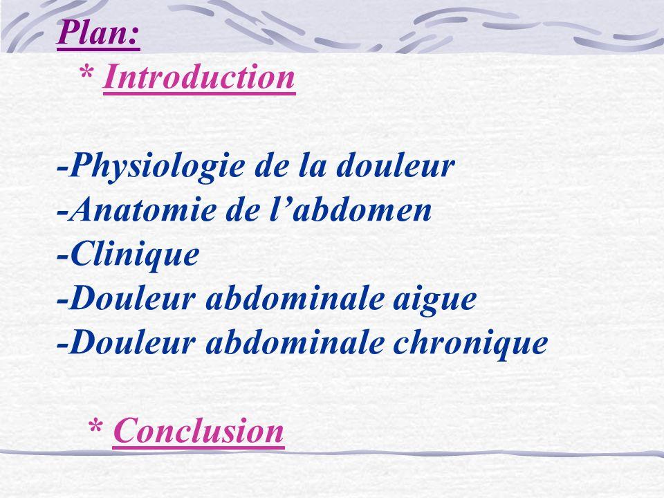 Plan: * Introduction -Physiologie de la douleur -Anatomie de l'abdomen -Clinique -Douleur abdominale aigue -Douleur abdominale chronique * Conclusion