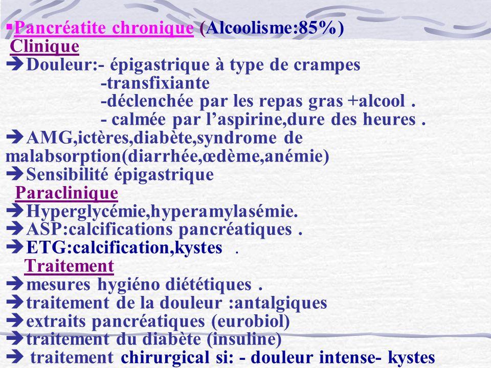 Pancréatite chronique (Alcoolisme:85%) Clinique Douleur:- épigastrique à type de crampes -transfixiante -déclenchée par les repas gras +alcool .