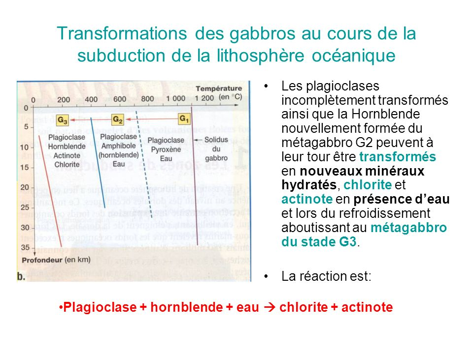 Transformations des gabbros au cours de la subduction de la lithosphère océanique