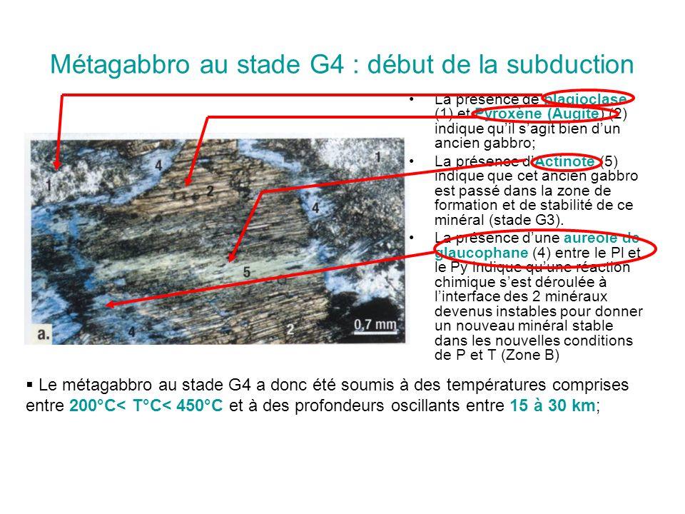Métagabbro au stade G4 : début de la subduction