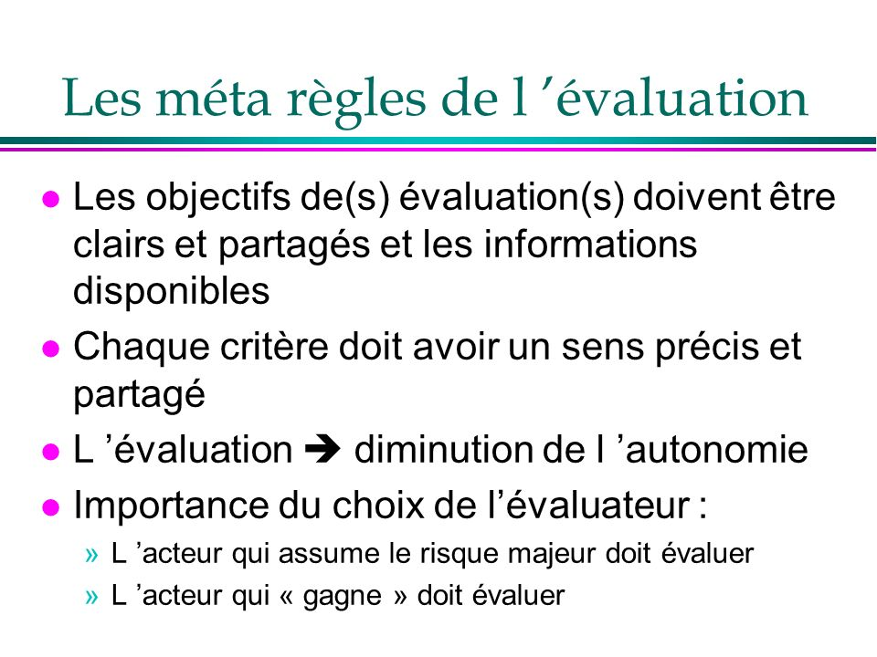 Les méta règles de l 'évaluation