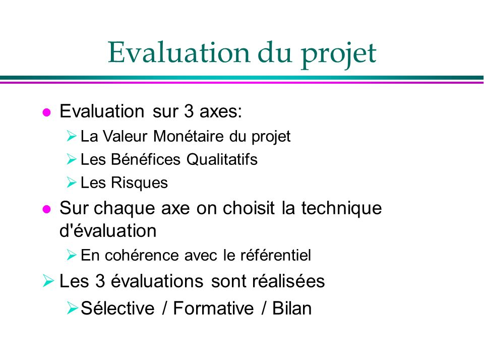 Evaluation du projet Evaluation sur 3 axes: