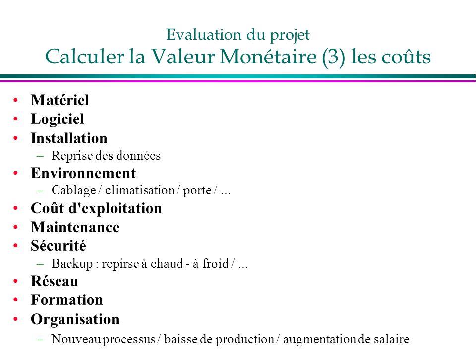 Evaluation du projet Calculer la Valeur Monétaire (3) les coûts