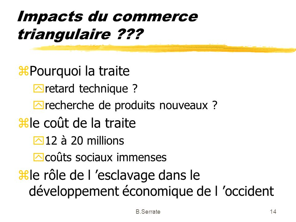 Impacts du commerce triangulaire