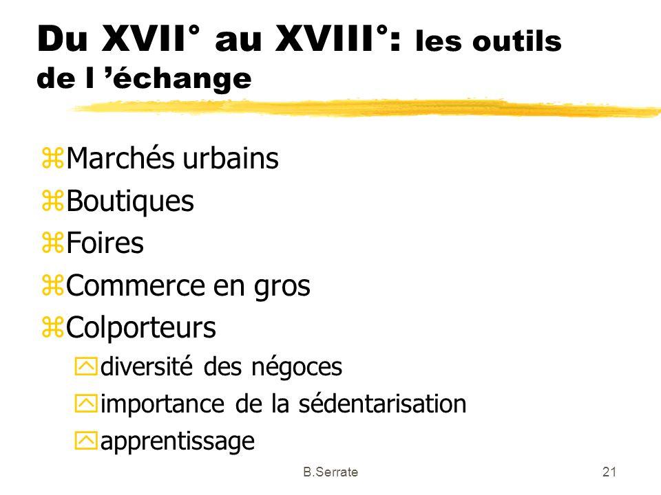 Du XVII° au XVIII°: les outils de l 'échange