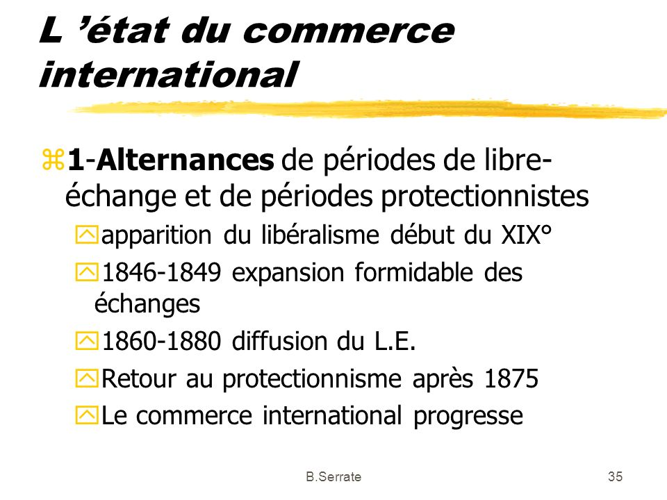 L 'état du commerce international