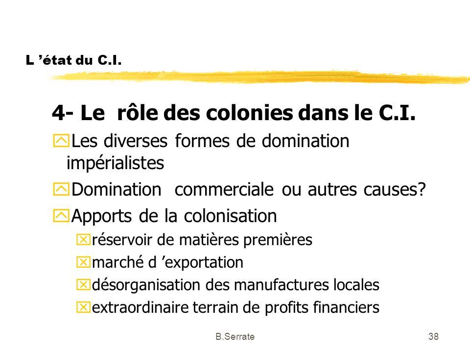 4- Le rôle des colonies dans le C.I.