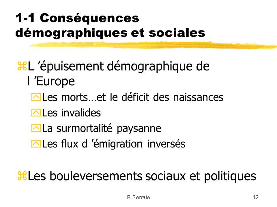 1-1 Conséquences démographiques et sociales