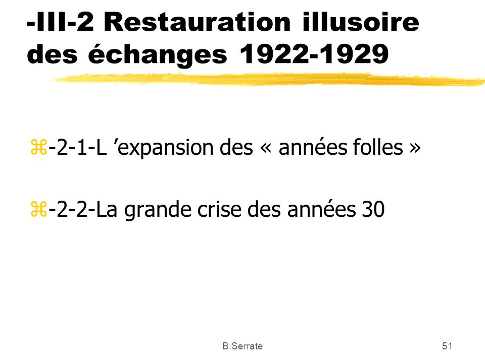 -III-2 Restauration illusoire des échanges 1922-1929