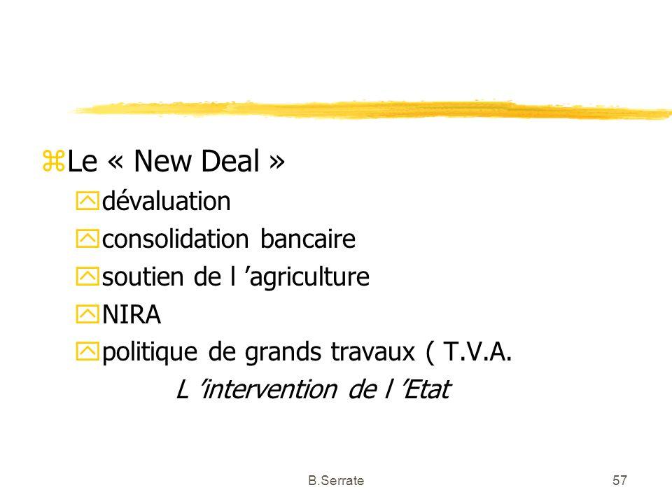 Le « New Deal » dévaluation consolidation bancaire