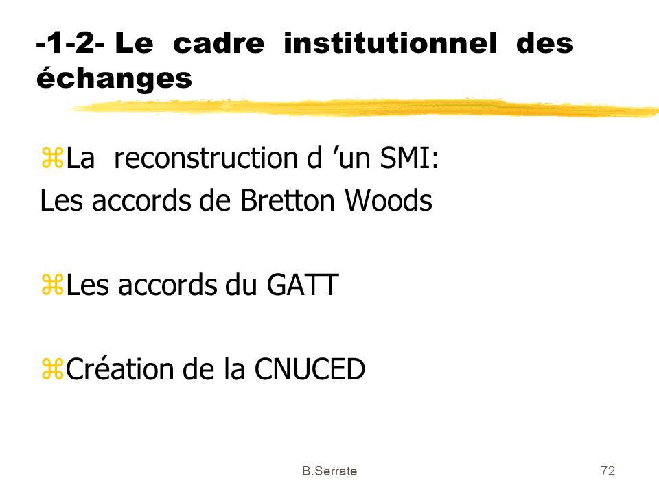 -1-2- Le cadre institutionnel des échanges