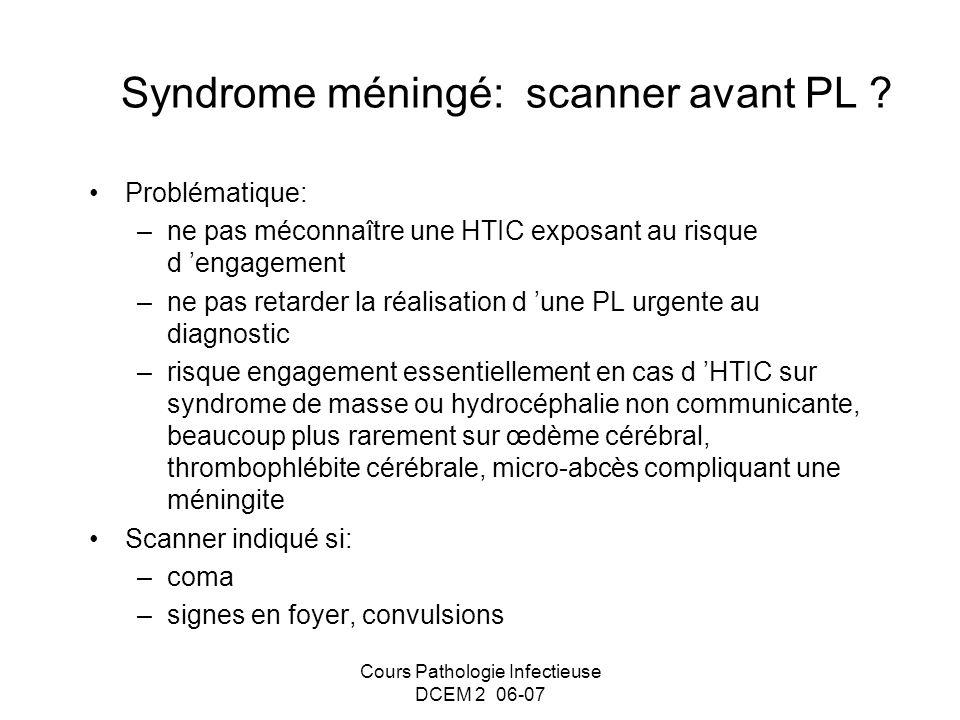 Syndrome méningé: scanner avant PL
