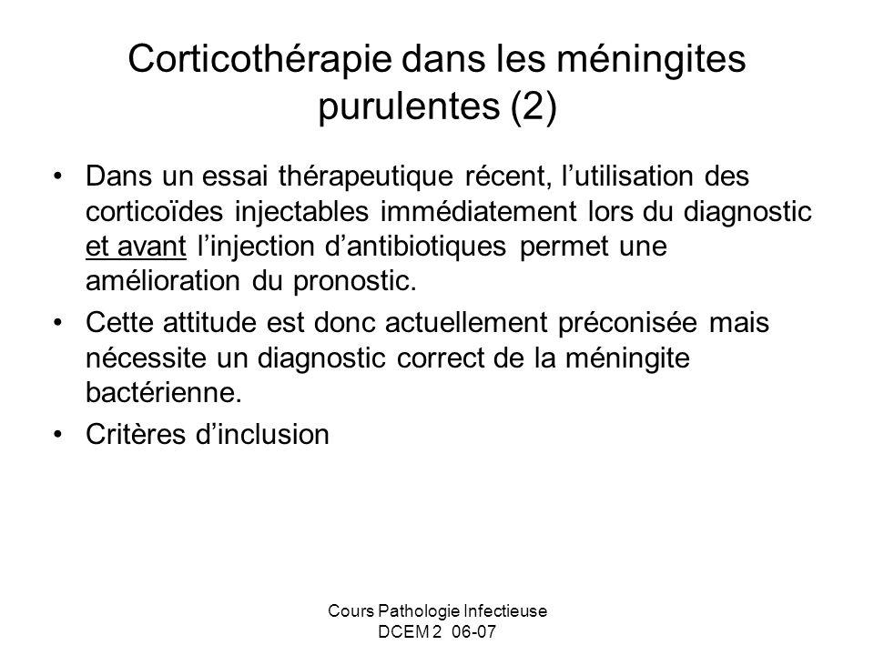 Corticothérapie dans les méningites purulentes (2)