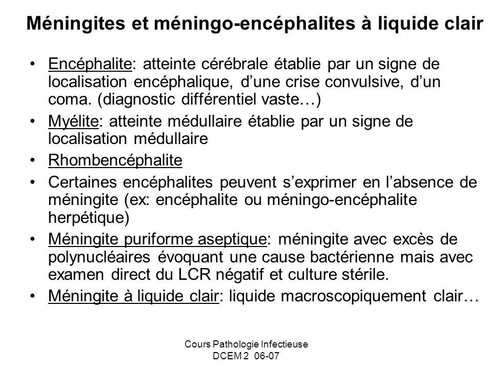 Méningites et méningo-encéphalites à liquide clair
