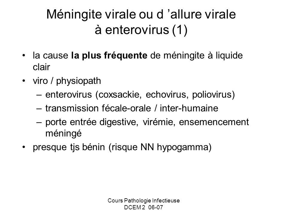 Méningite virale ou d 'allure virale à enterovirus (1)