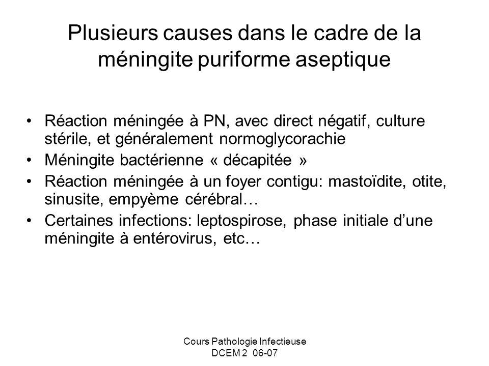 Plusieurs causes dans le cadre de la méningite puriforme aseptique