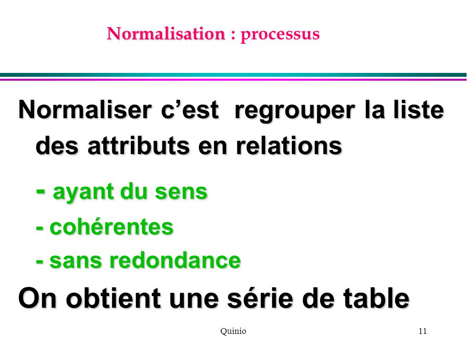 Normalisation : processus