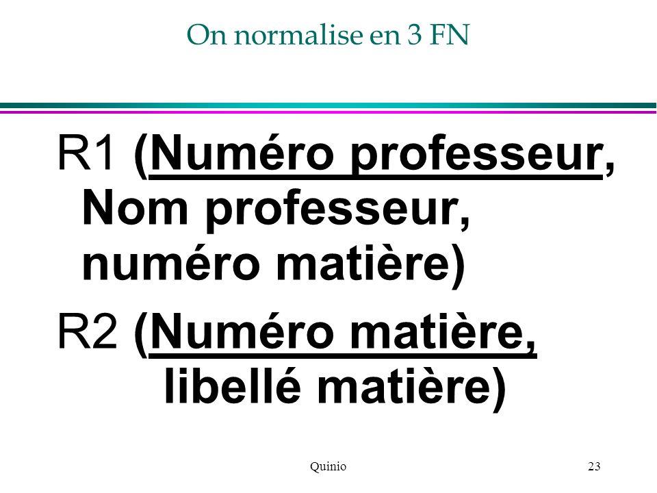 R1 (Numéro professeur, Nom professeur, numéro matière)