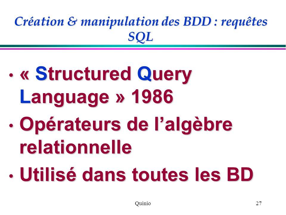 Création & manipulation des BDD : requêtes SQL