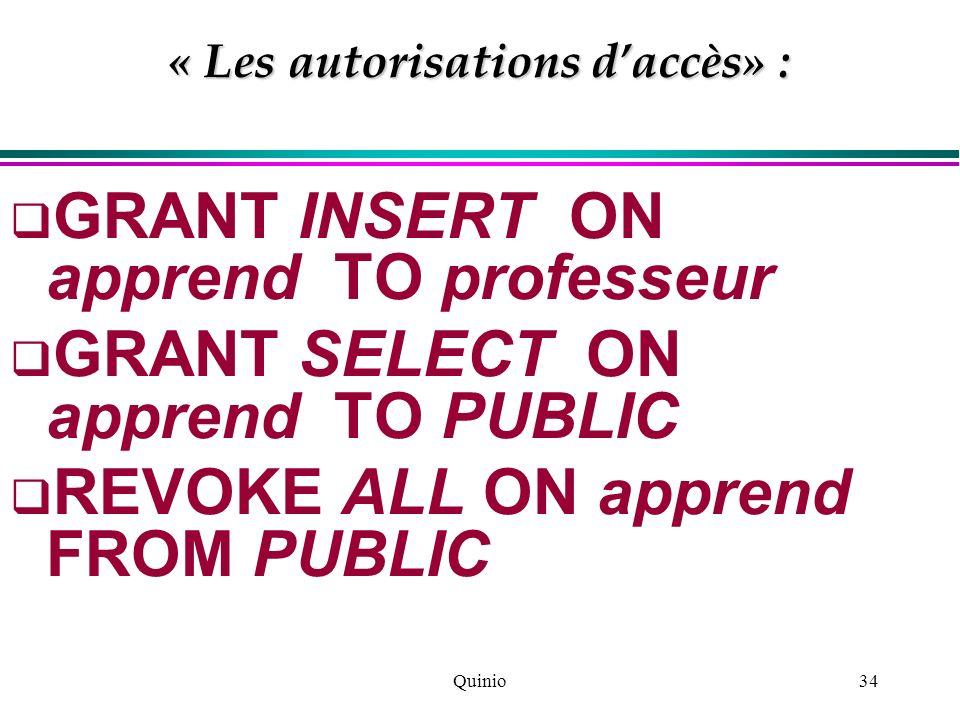 « Les autorisations d'accès» :