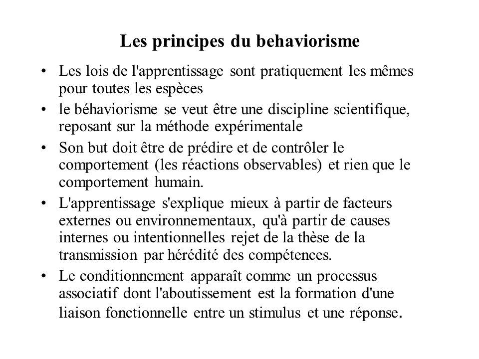 Les principes du behaviorisme