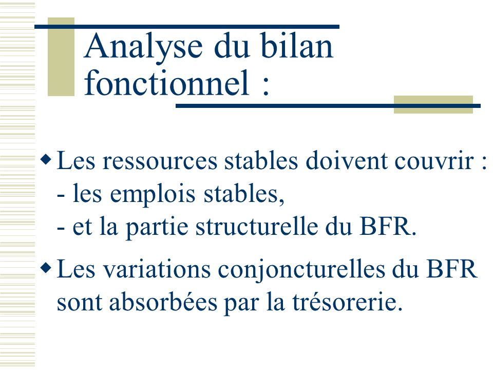 Analyse du bilan fonctionnel :