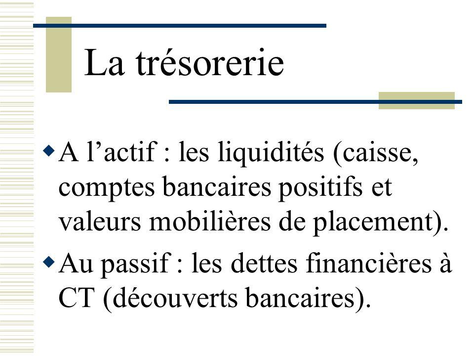 La trésorerie A l'actif : les liquidités (caisse, comptes bancaires positifs et valeurs mobilières de placement).