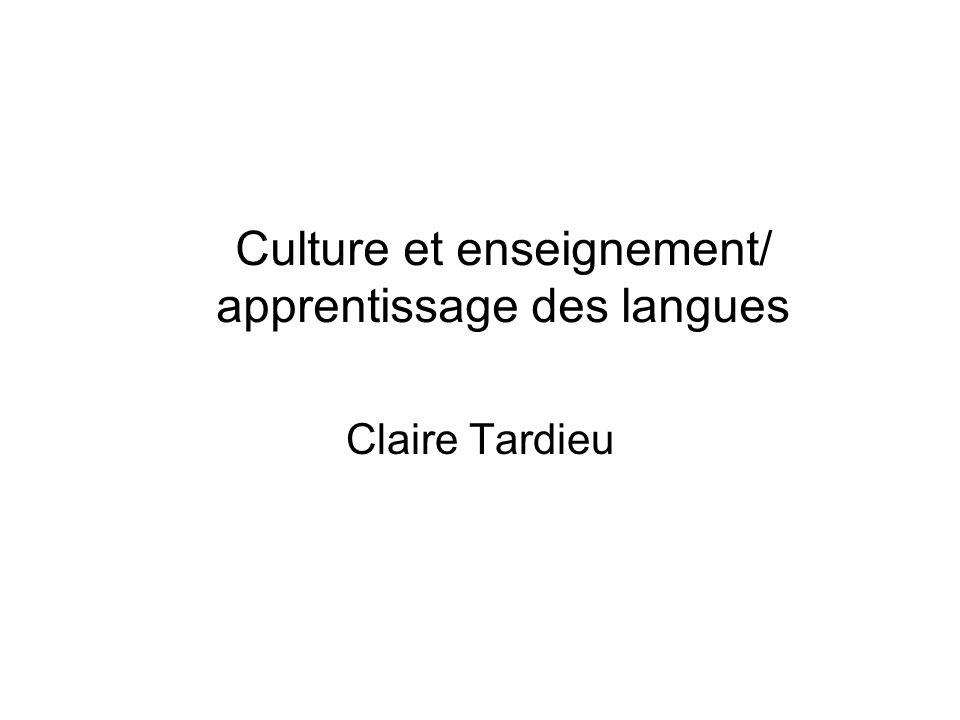Culture et enseignement/ apprentissage des langues