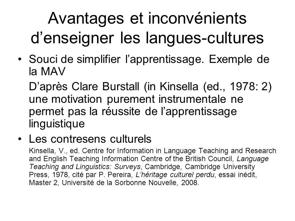 Avantages et inconvénients d'enseigner les langues-cultures