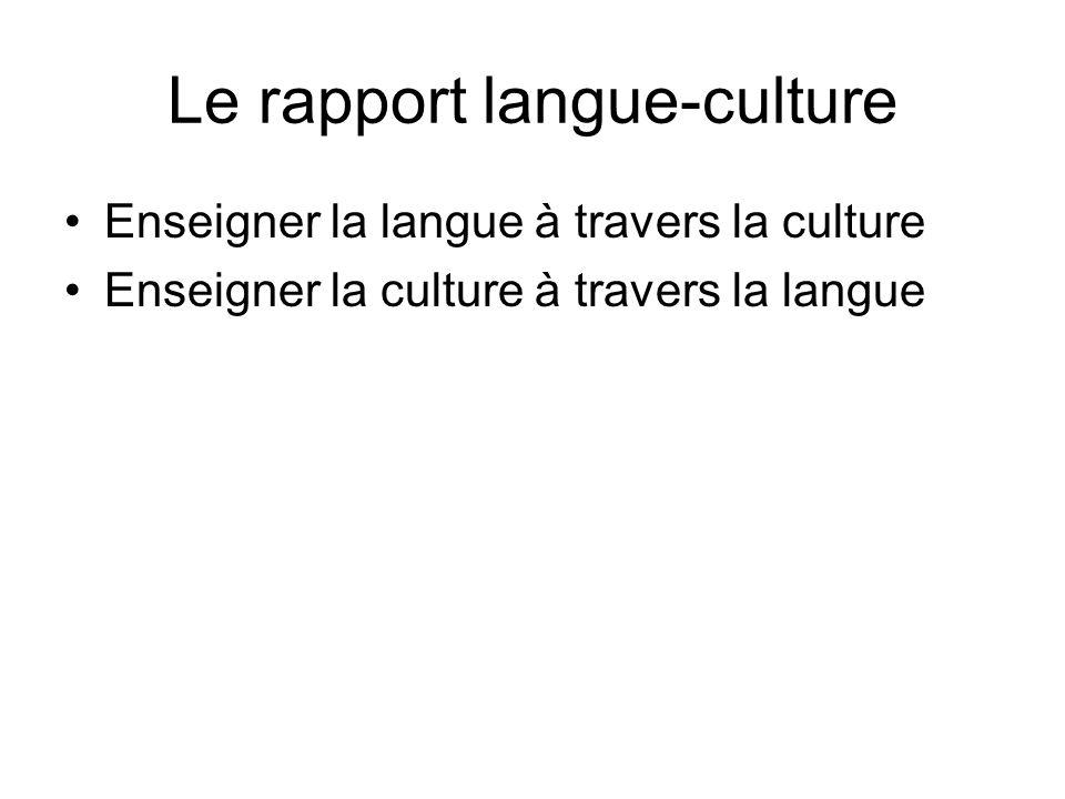 Le rapport langue-culture
