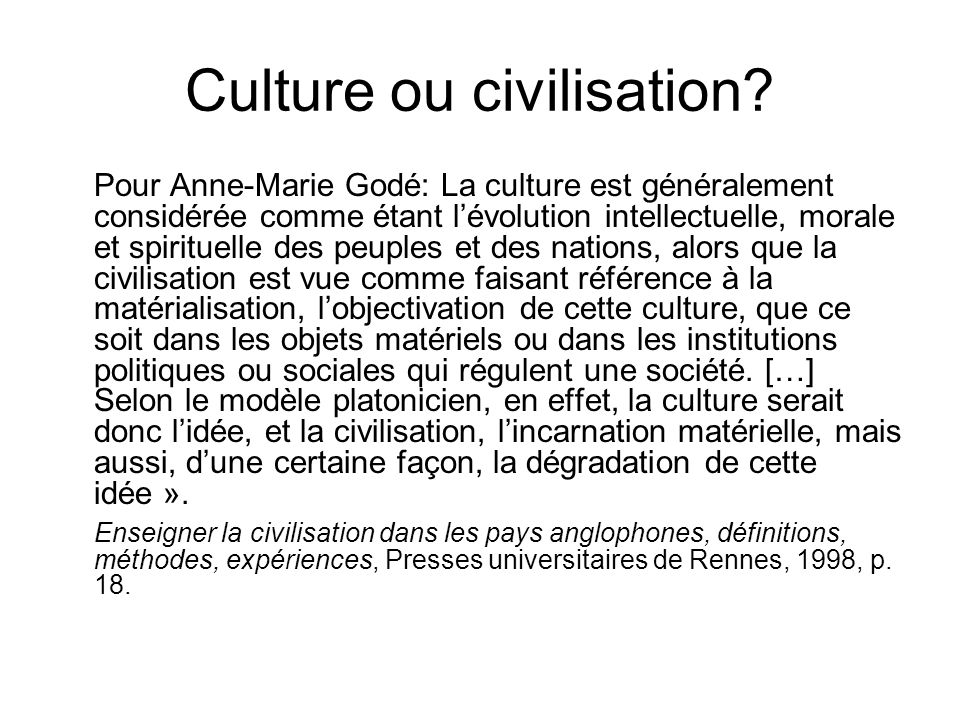 Culture ou civilisation