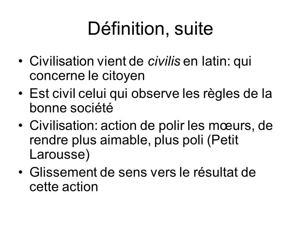 Définition, suite Civilisation vient de civilis en latin: qui concerne le citoyen. Est civil celui qui observe les règles de la bonne société.
