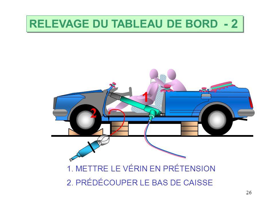 1 2 - 2 RELEVAGE DU TABLEAU DE BORD 1. METTRE LE VÉRIN EN PRÉTENSION