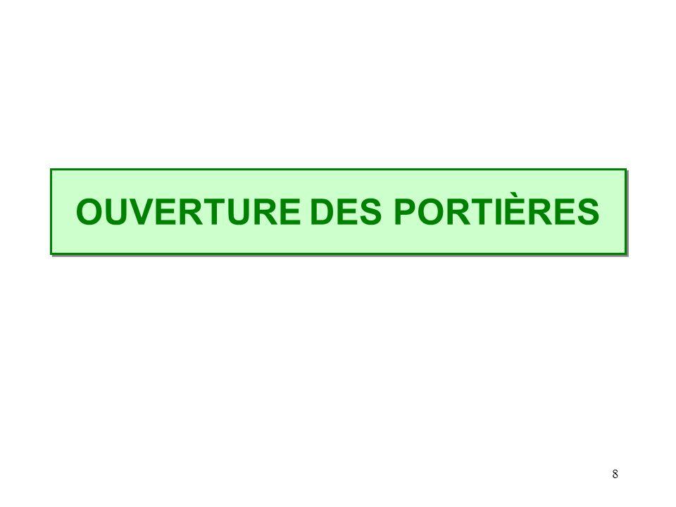 OUVERTURE DES PORTIÈRES