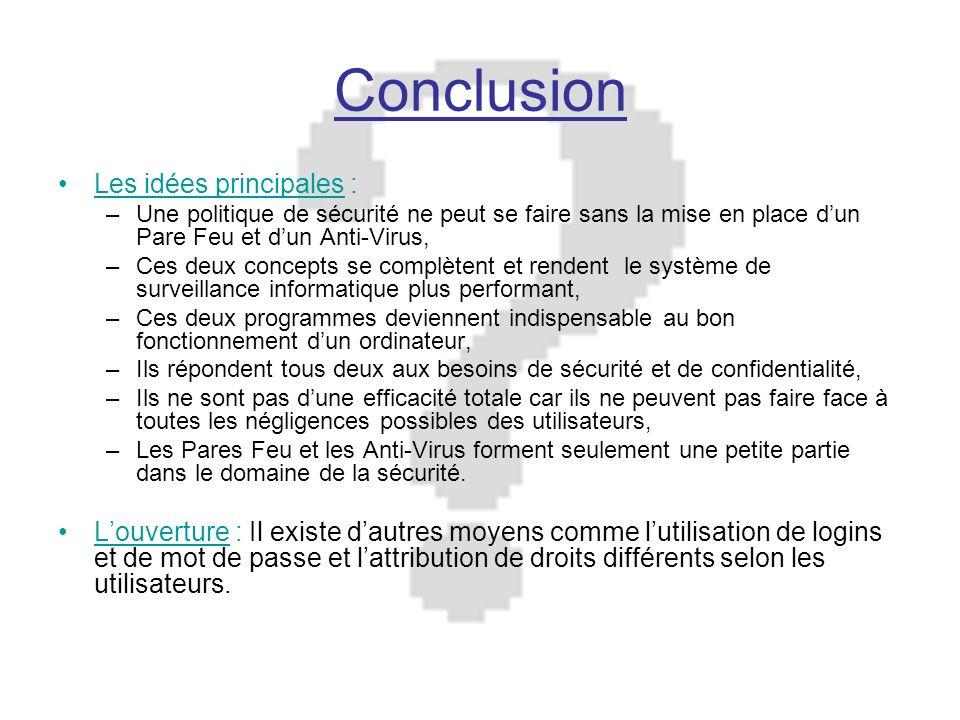 Conclusion Les idées principales :