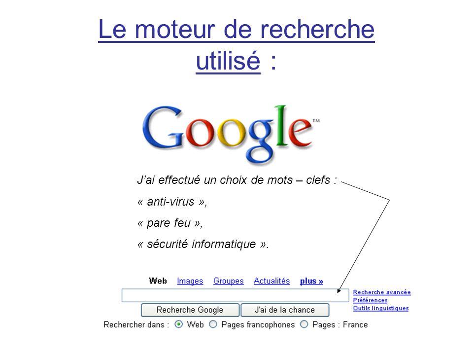 Le moteur de recherche utilisé :