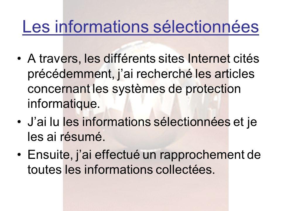 Les informations sélectionnées