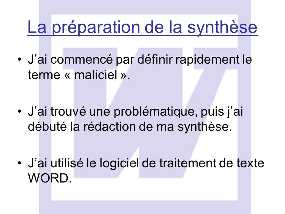 La préparation de la synthèse