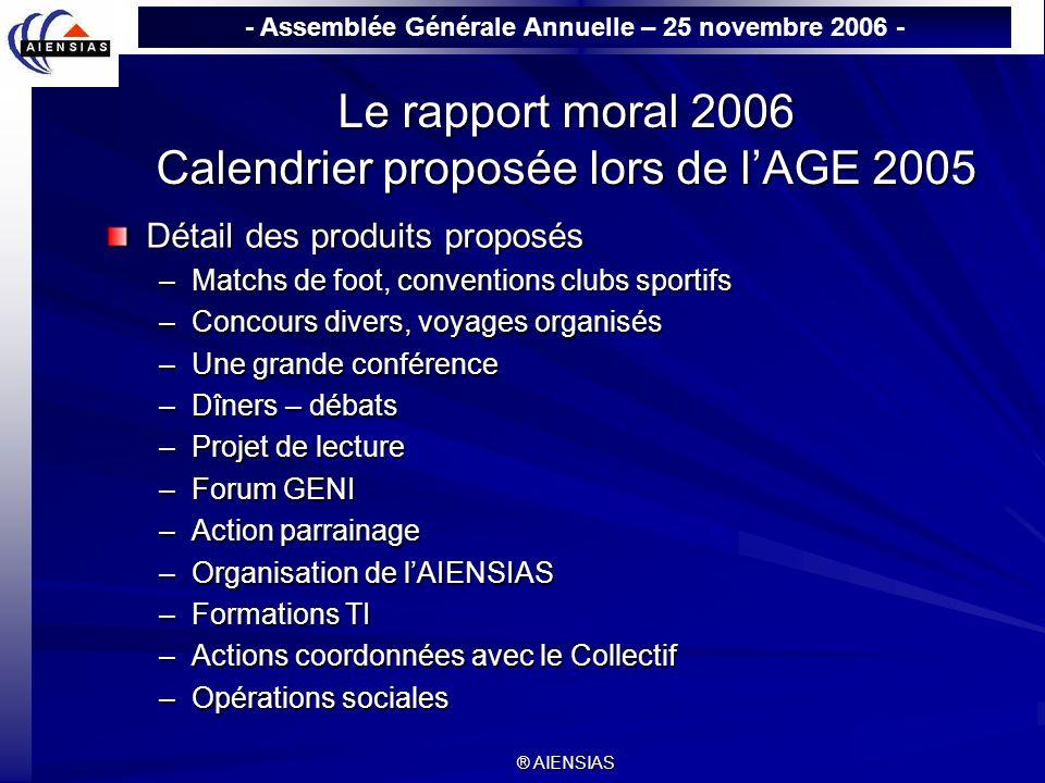 Le rapport moral 2006 Calendrier proposée lors de l'AGE 2005