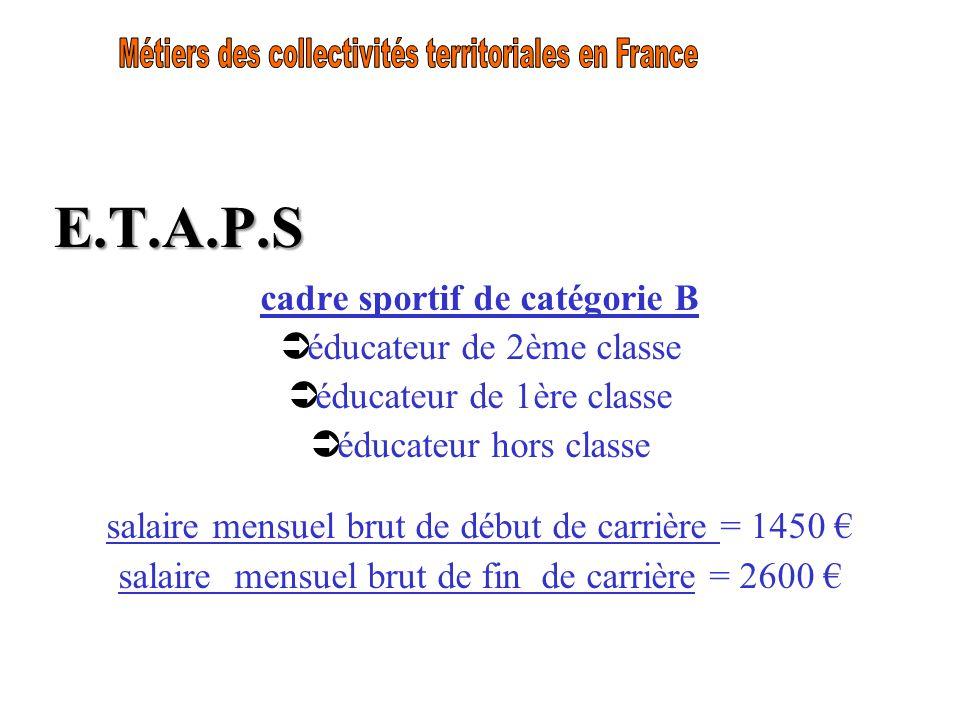 E.T.A.P.S cadre sportif de catégorie B éducateur de 2ème classe