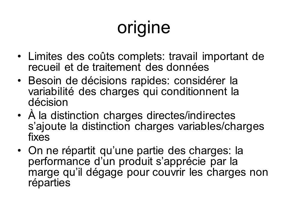 origine Limites des coûts complets: travail important de recueil et de traitement des données.