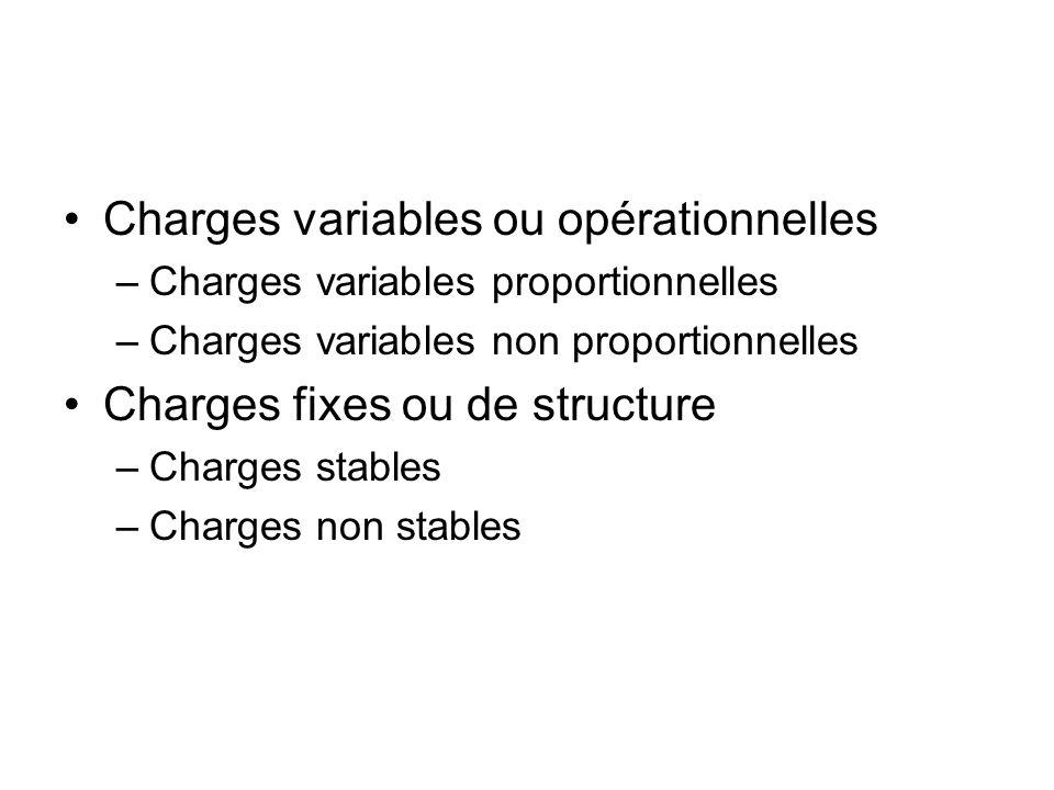Charges variables ou opérationnelles