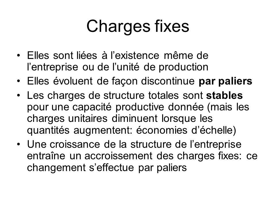 Charges fixesElles sont liées à l'existence même de l'entreprise ou de l'unité de production. Elles évoluent de façon discontinue par paliers.