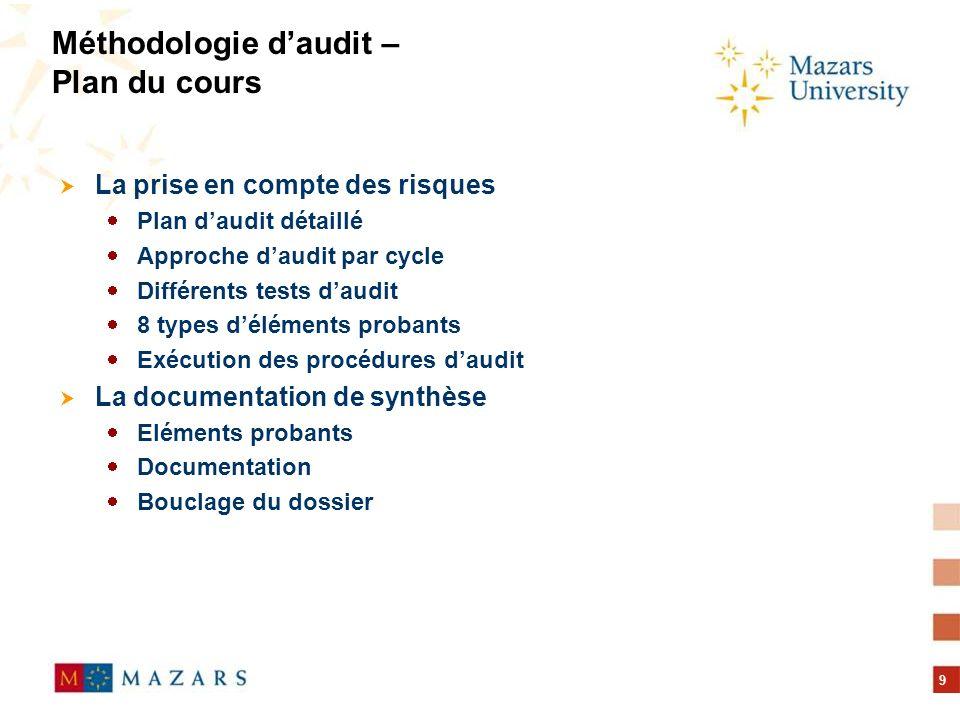 Méthodologie d'audit – Plan du cours