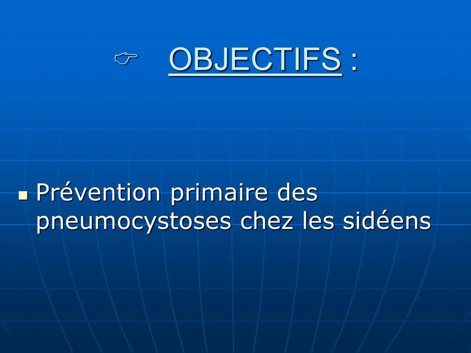 C OBJECTIFS : Prévention primaire des pneumocystoses chez les sidéens