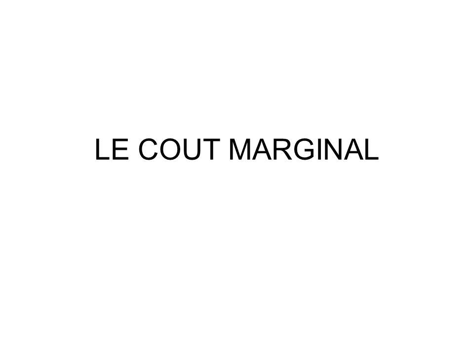 LE COUT MARGINAL