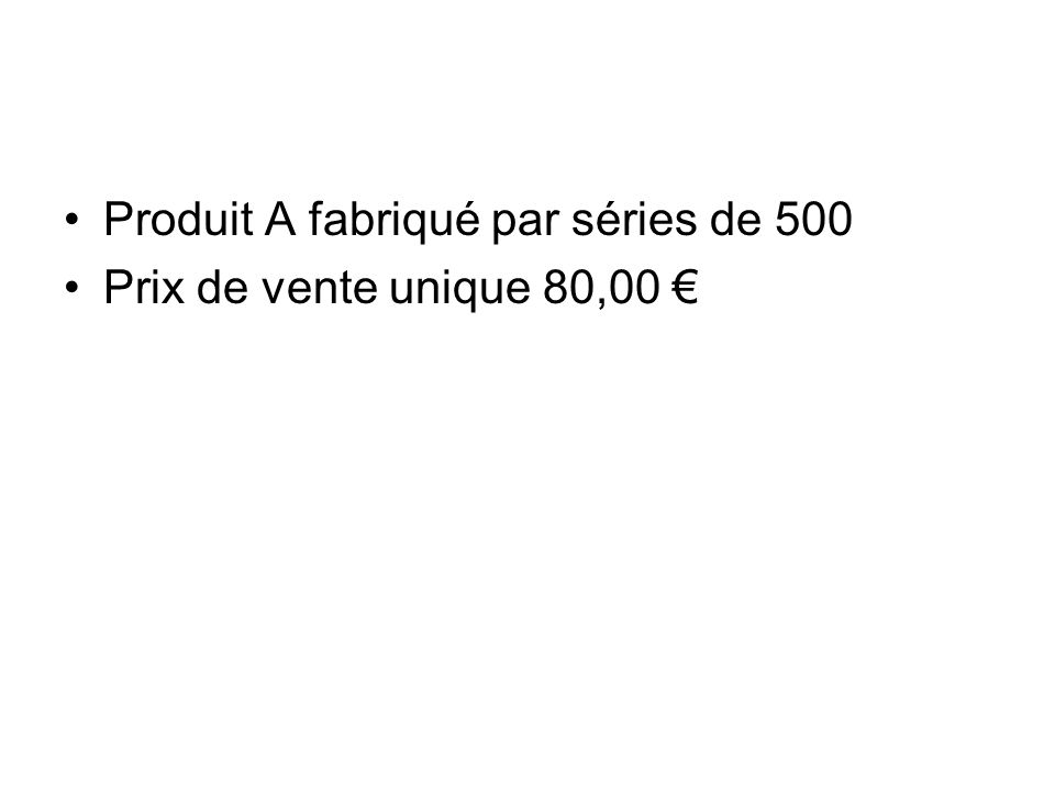 Produit A fabriqué par séries de 500